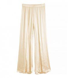 H&M Wide-Leg Satin Pants