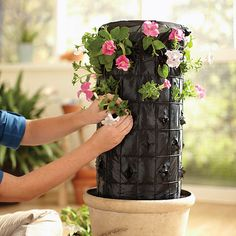 Adding flowers to the Home Depot DIY Flower Tower Project