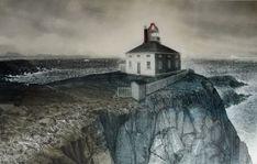 David Blackwood etching, Cape Spear, Newfoundland, 20 X 32 inches, Edition of Prints For Sale, Art For Sale, East Coast Canada, Prince Edward Island, Canadian Artists, Newfoundland, Nova Scotia, Online Art Gallery, Printmaking