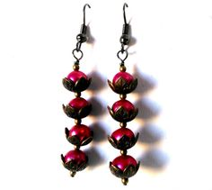 Pink Water Lilies  Hot Pink Pearls Copper Bead by MajaEarrings, $12.00