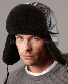 7e8415db048 Black Trapper Hat - Mouton Sheepskin   Leather