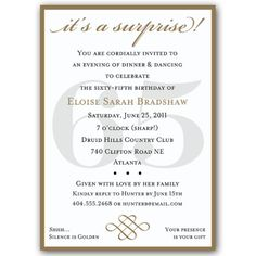 Classic 65th Birthday Gold Surprise Invitations