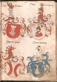 Wernigeroder (Schaffhausensches) Wappenbuch Süddeutschland, 4. Viertel 15. Jh. Cod.icon. 308 n  Folio 128r