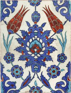 Turkey | Iznik tile, 16th C., Mosque of Rustem Pasha, Istanbul