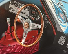 This is a painting of the interior of the Jaguar E Type Lightweight that used to be raced in the nineties by the famous pilot Stirling Moss Jaguar E Type, Interior Paint, Pilot, Automobile, Racing, Car Painting, Stirling, Vehicles, Paintings