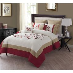 Cherry Blossom 7 Piece Comforter Set by VCNY - C30-7CS-FUQU-IN-RD