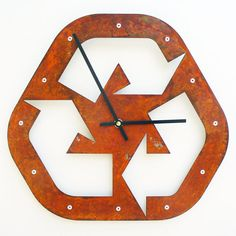 Recycle I, Medium Wall Clock, Rusted Wall Clock, rustic wall clock, unique wall…