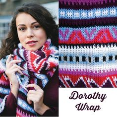 Dorothy Wrap ... an easy-to-stitch, one-size-fits-most Tunisian crochet colorwork wrap. See more ways to wear this wrap + get yarn suggestions here: https://www.anniescatalog.com/detail.html?prod_id=114671
