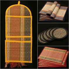✽ Madur Grass Table Mats, Coasters & Wall Hanging Letter Holders of Midnapur ✽