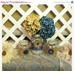 ON SALE Painted Mason Jars  Denim and Lace by ElsiesCreativeDesign