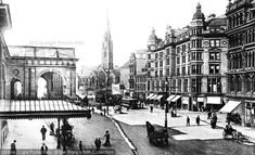 Neville Street showing The County Hotel and on the left is The Central Station portico Newcastle Gateshead, North East England, Central Station, Sunderland, Local History, Old Photos, Vintage Photos, Historical Pictures, Aerial View