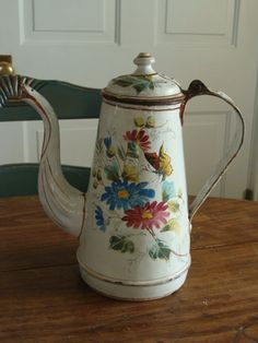 Exceptional French Antique Coffee Pot Enamelware by QuelJoliReve