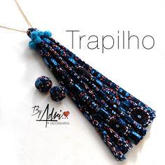 +Estampados! flecos en tela con cadena + zarcillos #accesorios #trapillo #tela #extralargo