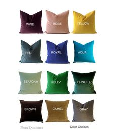 22x22 to 24x24 Velvet Decorative Pillow Cover- 12 COLOR CHOICES -Medium Weight Cotton Velvet- Invisible Zipper Closure- 56x56cm. Cushion