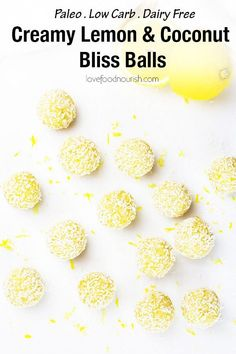 These creamy lemon coconut bliss balls make a tasty healthy snack – they are low carb, high protein, gluten, dairy and refined sugar free. With a delicious blend of zesty lemon and creamy coconut these paleo energy balls are an easy to make no bake snack! Paleo Vegan, Healthy Vegan Dessert, Yummy Healthy Snacks, Vegan Snacks, Almond Recipes, Dairy Free Recipes, Gourmet Recipes, Real Food Recipes, Low Carb Recipes