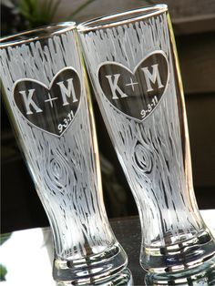 Rustic Personalized Pilsner Glasses with Carved Tree, Heart, Initials