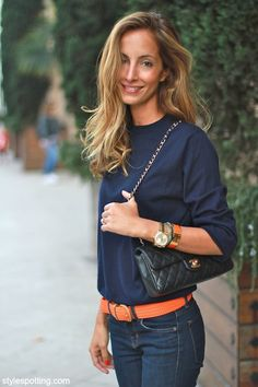 Navy with touches of tangerine