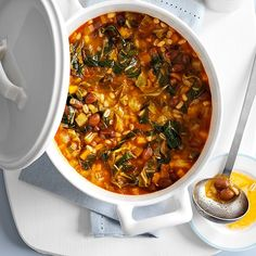 Try our Tuscan stew recipe with beans and barley. This quick and easy stew recipe is a one-pot healthy vegan, low calorie meal ready in under 30 minutes Easy Stew Recipes, Vegan Recipes Easy, Vegetarian Recipes, Going Vegetarian, Supper Recipes, Savoury Recipes, Chili Recipes, Veggie Recipes, Healthy Italian Recipes