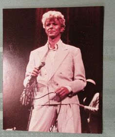 "DAVID BOWIE 8x10"" color picture frameable photo ON STAGE Let's Dance"