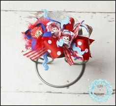 Raggedy Ann Funky Loopy Hairbow by glambabiez on Etsy, $10.00