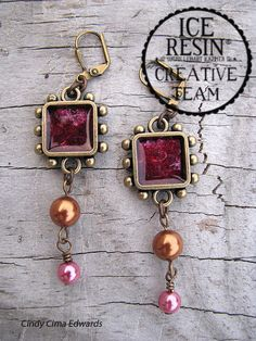 Magic Mica earrings by Cindy Cima Edwards - Ice resin jewelry