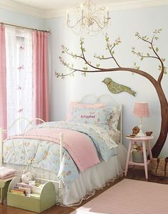 Girls Bedroom tree  love this wall sticker, bed and quilt covers