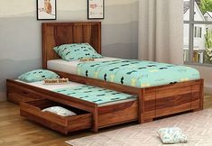 Buy Gary Kids Trundle Bed With Storage Online in India - Wooden Street Girls Bed With Storage, Wooden Bed With Storage, Single Beds With Storage, Kids Beds With Storage, Bed Designs With Storage, Diy Storage Bed, Trundle Bed With Storage, Wood Bed Design, Bedroom Bed Design