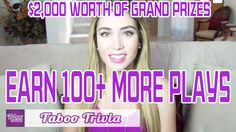 "TABOO TRIVIA Game: How to EARN OVER 100+ MORE PLAYS  [EXCLUSIVE] Watch the video to learn ""HOW to EARN 100 PLUS MORE PLAYS in the Taboo Trivia Game. The more you play the more chances for you to WIN $2,000 worth of GRAND PRIZES. Plus, you'll also get more chances to WIN over 800 Instant Prizes when you play the Taboo Trivia Game.   PLAY NOW! http://tabooga.me/pintowin Rules apply! http://tabooga.me/rules  #Game #TriviaGame #SexGame #TabooSex #Taboo #HowtoPlay #HowtoVideo #Grand Prize #Cash"