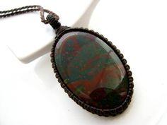 Bloodstone Necklace / Indian Bloodstone / January finds / jewelry / Healing Gemstone Jewelry / March birthstone / Healing gift / Macrame