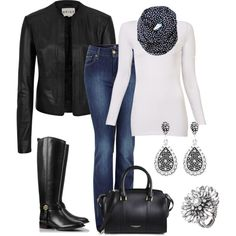 Black and White Polka Dots, created by smores1165 on Polyvore