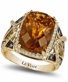 Le Vian Cognac Quartz (5-7/8 ct. t.w.) and Diamond (1/4 ct. t.w.) Ring in 14k Rose Gold