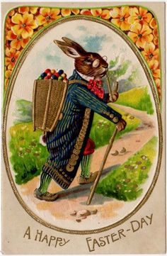 Easter Postcard Dressed Rabbit Smoking Pipe & Delivering Eggs