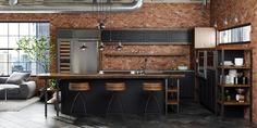 Industrial Style Loft Kitchen Design with Dura Supreme Cabinetry Loft Interior Design, Industrial Interior Design, Rustic Industrial, Loft Design, Web Design, Urban Kitchen, Loft Kitchen, Kitchen And Bath, Industrial Kitchen Island