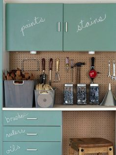 A layer of chalkboard paint helps the whole family know where garage items are stored. Get your garage in top organizational shape! Organize your tools, outdoor gear, and whatever else makes its way into your garage with these smart garage storage ideas. Organisation Hacks, Garage Organization Tips, Garage Storage Cabinets, Organizing Ideas, Wall Cabinets, Pegboard Garage, Garage Paint, Blue Cabinets, Organising