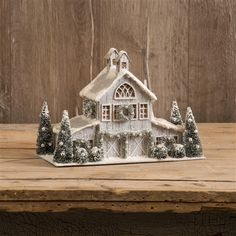 Details about White Christmas Putz Lighted Horse Barn Stable Primitive Tablepiece Colonial - Christmas:) - Christmas Village Houses, Christmas Village Display, Putz Houses, Christmas Villages, Silver Christmas Decorations, Christmas Table Centerpieces, Holiday Decor, White Christmas, Christmas Home