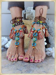 Pies descalzos Pocahontas sandalias tribales borla por GPyoga