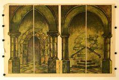 Zalar - Kaple kulisy c. 10a. Stapferovy ceské decorace pro 25 i 35 cm. loutky. (Kerker - Kapelle Kulisse Nr. 10a. Stapfers tschech. Dekorationen für 25-35 cm Puppen.)