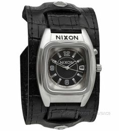 NIXON Leather Cuff Watch ( NEW ) 'The Rocker' Mens Black Dial & Band w/ Date   http://www.gearhouseclearance.com/servlet/the-Watches/Categories