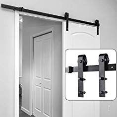 Barn Door Hardware Kit 6 6ft Ohuhu Sliding Barn Doors Track Heavy Duty Sturdy With Online Install Video T Sliding Barn Door Track Barn Door Hardware Barn Door