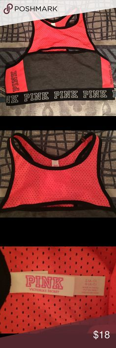 VS Sports Bra Worn once to try on. Ordered online, wasn't a huge fan of it. Very comfortable, just not what I was looking for! Size large A-C (I wear a 34D and it fit me just fine). PINK Victoria's Secret Intimates & Sleepwear Bras