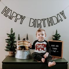 How cute is this banner? It is super versatile and can work with any party theme! I love Etsy! Simple First Birthday, Boys First Birthday Party Ideas, Birthday Themes For Boys, Baby Boy 1st Birthday, Happy Birthday Banners, Boy Birthday Parties, 20th Birthday, Camping, First Birthdays