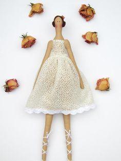Fabric doll white ballerina doll princess by #HappyDollsByLesya