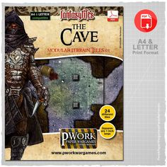 The Cave - Modular Terrain Tiles 01 is a paper-printable set, ideal for Fantasy settings, which includes a lot of modular tiles divided into squares of 2,5x2,5cm – 1x1'' suitable to recreate chambers, tunnels and the dark depths of an underground cave.