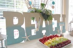 Beach Themed Party, Love that large sign on food table! Beach Themed Crafts, Beach Crafts, Retirement Parties, Grad Parties, Summer Parties, Luau Party, Beach Party, Decor Crafts, Diy Crafts