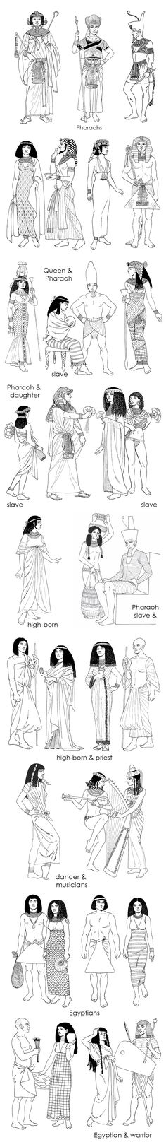 Pharaoh, queen, slave dress cides in Ancient Egypt Ancient Art, Ancient History, Ancient Aliens, Egyptian Fashion, Egyptian Mythology, Egyptian Pharaohs, Egyptian Queen, Egyptian Goddess, Egypt Art