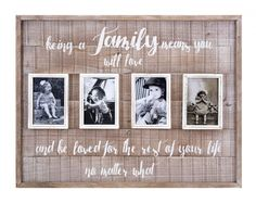 Showcase your love of family with our beautiful rustic wood picture collage frame. Finished in a rustic chic style with hand lettered details, this photo frame holds 4 photos. Family Wall Collage, Wall Collage Decor, Collage Picture Frames, Frames On Wall, Framed Wall Art, Wall Decor, Family Pictures On Wall, Home Decor Pictures, Diy Rustic Decor