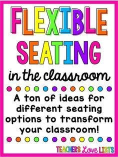 Flexible seating classroom ideas for students! I absolutely love all of these classroom seating choices.. lots of fun ideas!