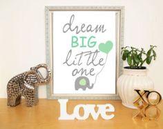 Baby Nursery Art Mint and Gray Nursery Print Love by HopAndPop