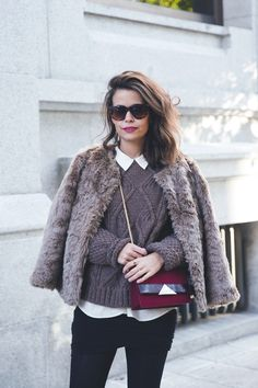 wolford fake fur coat street style outfit collage vintage