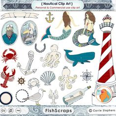 Nautical Clip Art - Mermaid ClipArt - Summer Beach Digital Graphics by FishScraps - Whale, Octopus, Lighthouse, Seagull, Shell, Message in a Bottle, Crab, Lobster, Sailor, Fisherman, Illustrations for Personal and Commercial Small Business Use.